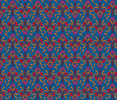 Waratahs on mid-blue fabric by su_g on Spoonflower - custom fabric