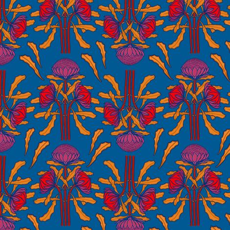 Waratahs on mid-blue by Su_G fabric by su_g on Spoonflower - custom fabric