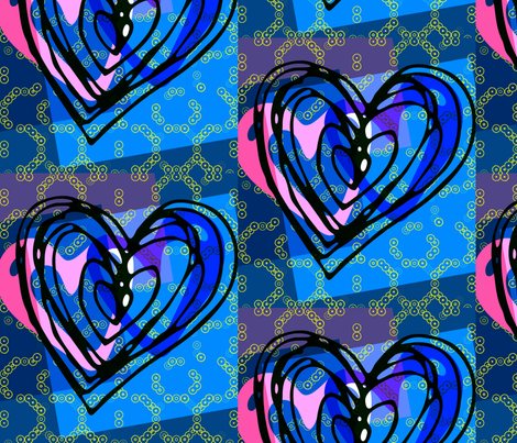 heart_party_blue fabric by _vandecraats on Spoonflower - custom fabric