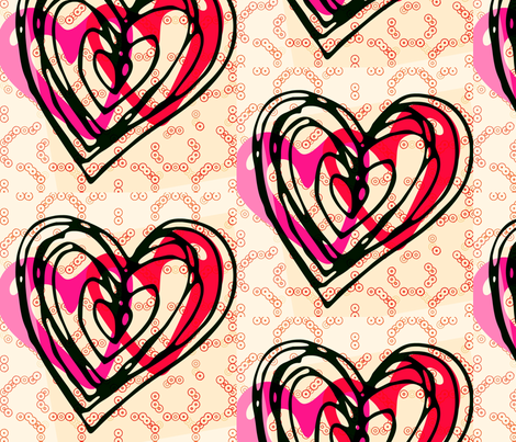 hearts_art_red fabric by _vandecraats on Spoonflower - custom fabric