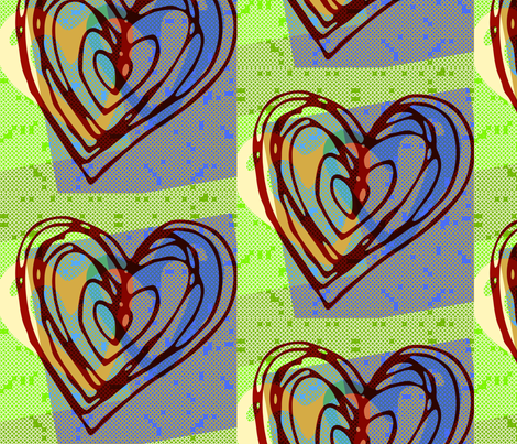 hearts_arty green fabric by _vandecraats on Spoonflower - custom fabric