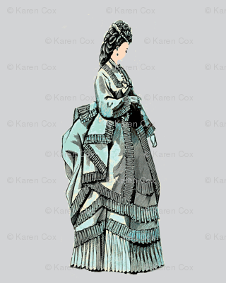 1800 French Fashion Aqua on gray