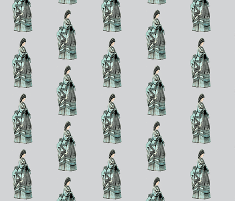 1800 French Fashion Aqua on gray fabric by karenharveycox on Spoonflower - custom fabric