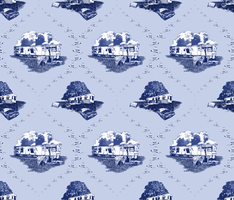 Trailer Trash Toile (Blue on Blue), Smaller fabric by seidabacon on Spoonflower - custom fabric