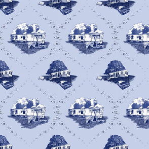 Trailer Trash Toile (Blue on Blue), Smaller