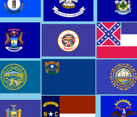 centered United States state flags