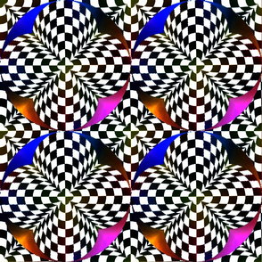 Black and white checkerboard with colors 18x18