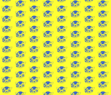 kitty small blue yellow fabric by whateverworksbyandreastill on Spoonflower - custom fabric
