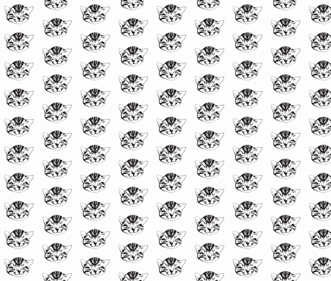 kitty small black white fabric by whateverworksbyandreastill on Spoonflower - custom fabric