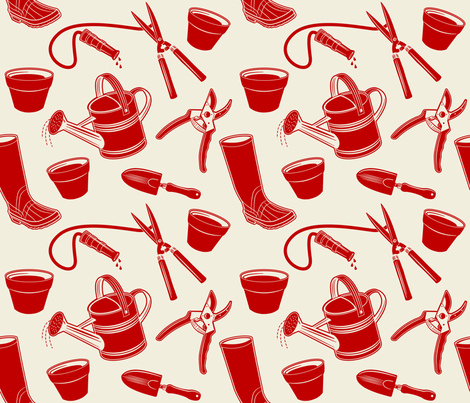 Gardening Tools ~ Red fabric by retrorudolphs on Spoonflower - custom fabric