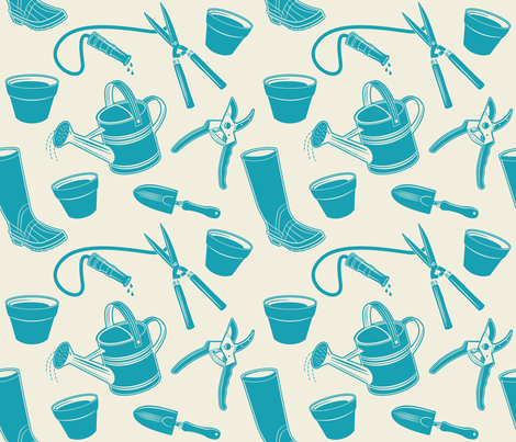 Gardening Tools ~ Deep Turquoise  fabric by retrorudolphs on Spoonflower - custom fabric