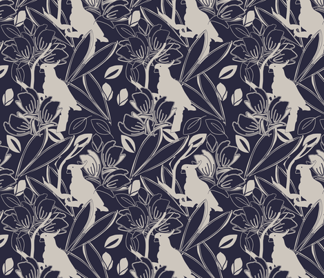 Cockatoos Evening Blue fabric by leeandallandesign on Spoonflower - custom fabric