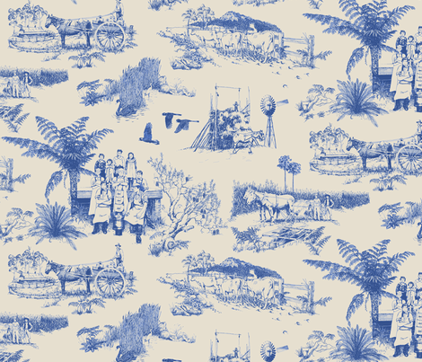 Tilba_toile_blue/bone fabric by pavlovais on Spoonflower - custom fabric