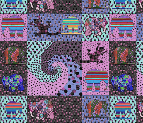 snails_trail_80ies_pink_and_violet_retro_colors_quilt_with_elephants_and_lizards fabric by vinkeli on Spoonflower - custom fabric