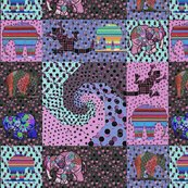 Rsnails_trail_80ies_pink_and_violet_retro_colors_quilt_with_elephants_and_lizards_shop_thumb