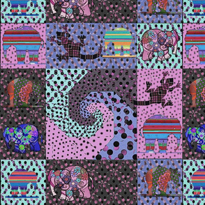 snails_trail_80ies_pink_and_violet_retro_colors_quilt_with_elephants_and_lizards