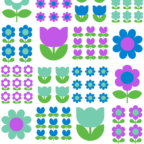 flower_patch_blue fabric by aliceapple on Spoonflower - custom fabric