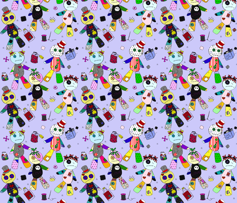 Voodoo on Blue fabric by glanoramay on Spoonflower - custom fabric