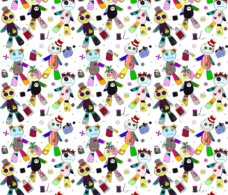voodoo on White fabric by glanoramay on Spoonflower - custom fabric