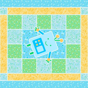 Blue Baby Robot Cheater Quilt