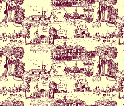 Haarlemmermeer Toile de Jouy fabric by zandloopster on Spoonflower - custom fabric