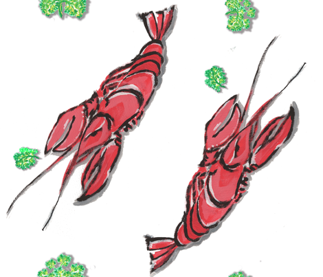 Homard et le persil fabric by hollycejeffriess on Spoonflower - custom fabric