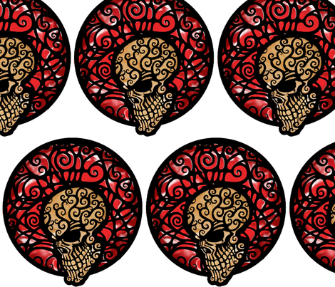 Candy_Skull_color fabric by rainlongson-artist on Spoonflower - custom fabric