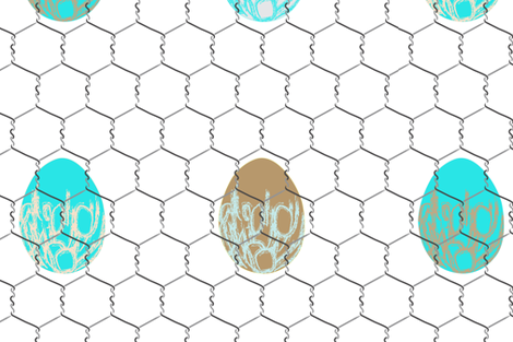 chickenwire with eggs fabric by veerapfaffli on Spoonflower - custom fabric