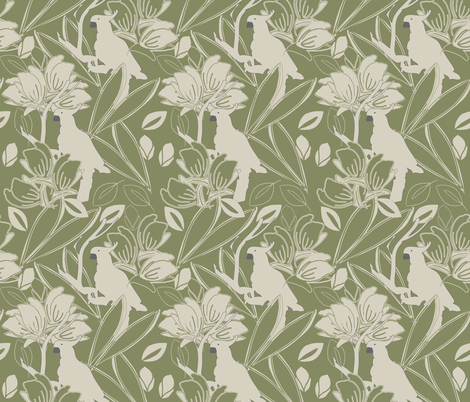 Cockatoo Mosstone fabric by leeandallandesign on Spoonflower - custom fabric