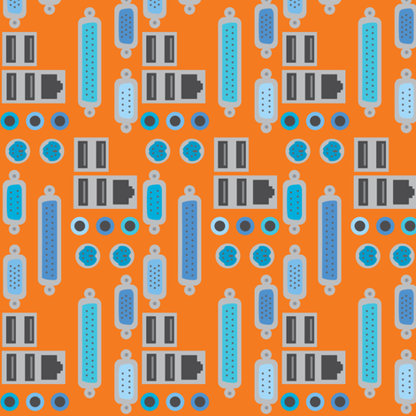 orange plugs fabric by mariao on Spoonflower - custom fabric