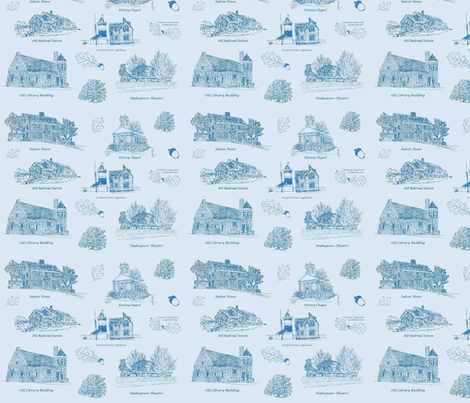 Blue Stratford Toile fabric by joofalltrades on Spoonflower - custom fabric