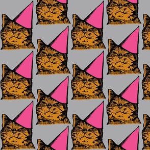 Party Cat, Pink/Orange/Gray