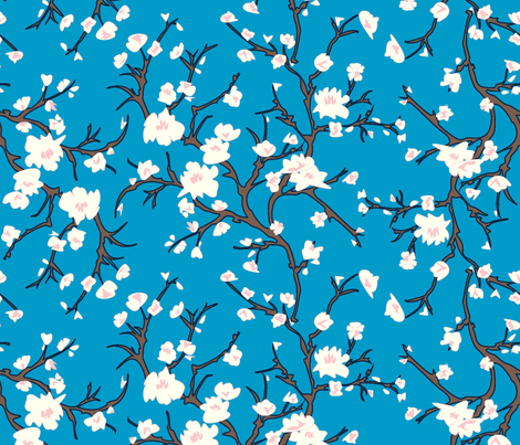 Almond Branch Blue fabric by janelle_wooten on Spoonflower - custom fabric
