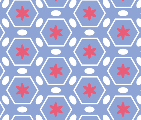 flowres-and-eggs-pink-blue-d fabric by owlandchickadee on Spoonflower - custom fabric