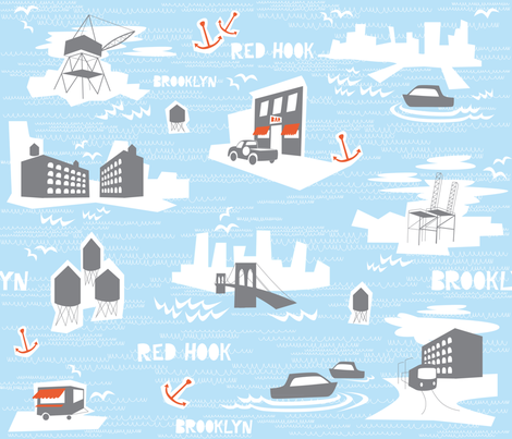 Red Hook, Brooklyn Toile fabric by walsh|studio on Spoonflower - custom fabric