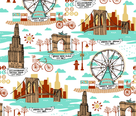 Brooklyn Landmarks Toile - Aqua fabric by carcamella on Spoonflower - custom fabric