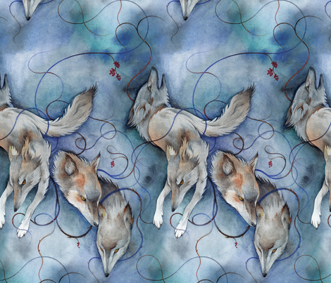 Winter Wolves fabric by rabbit_engine on Spoonflower - custom fabric