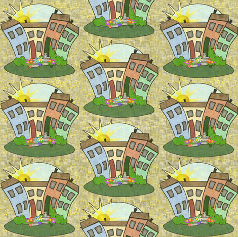 a_beautiful_day_in_the_neigborhood fabric by glimmericks on Spoonflower - custom fabric