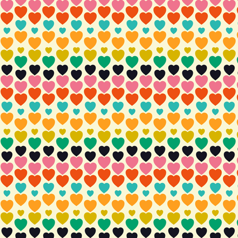 Irregular hearts retro fabric by irrimiri on Spoonflower - custom fabric