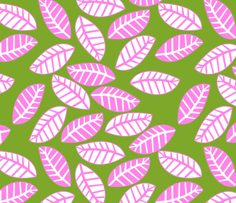 feuille rose fond vert fabric by nadja_petremand on Spoonflower - custom fabric