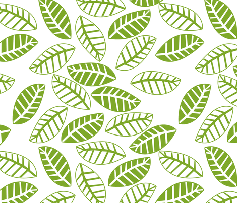 feuille vert fond blanc fabric by nadja_petremand on Spoonflower - custom fabric