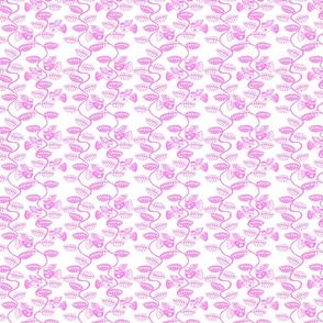 oiseau feuille rose fond blanc S