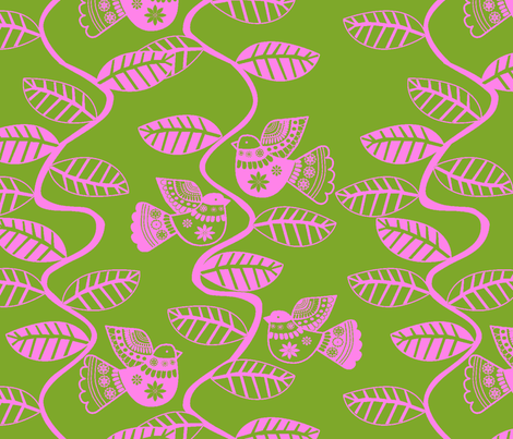 oiseau feuille rose fond  vert fabric by nadja_petremand on Spoonflower - custom fabric