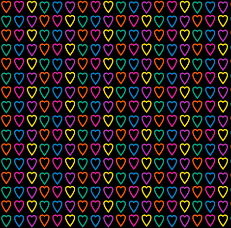 Multi rainbow hearts on black fabric by glanoramay on Spoonflower - custom fabric