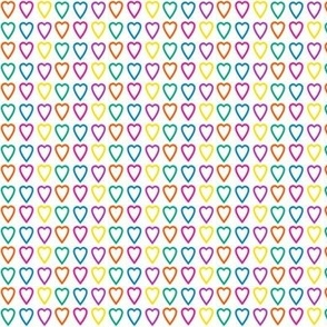 Multi rainbow hearts on white
