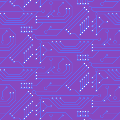 Robot coordinates - circuit board - purple fabric by coggon_(roz_robinson) on Spoonflower - custom fabric