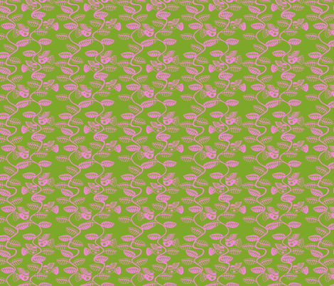 oiseau feuille rose fond vert S fabric by nadja_petremand on Spoonflower - custom fabric