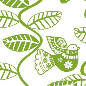 oiseau feuille vert fond  blanc
