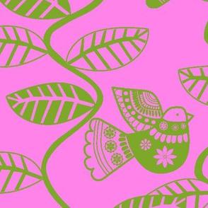 oiseau feuille vert  fond rose