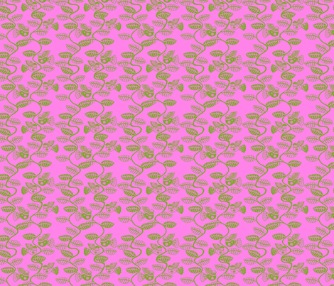 oiseau feuille vert  fond rose S fabric by nadja_petremand on Spoonflower - custom fabric